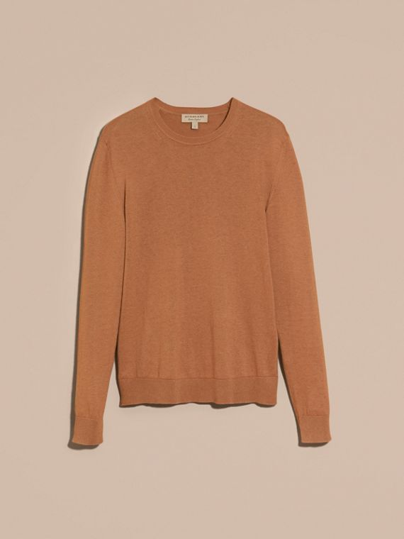 Check Trim Cashmere Cotton Sweater in Camel - cell image 3