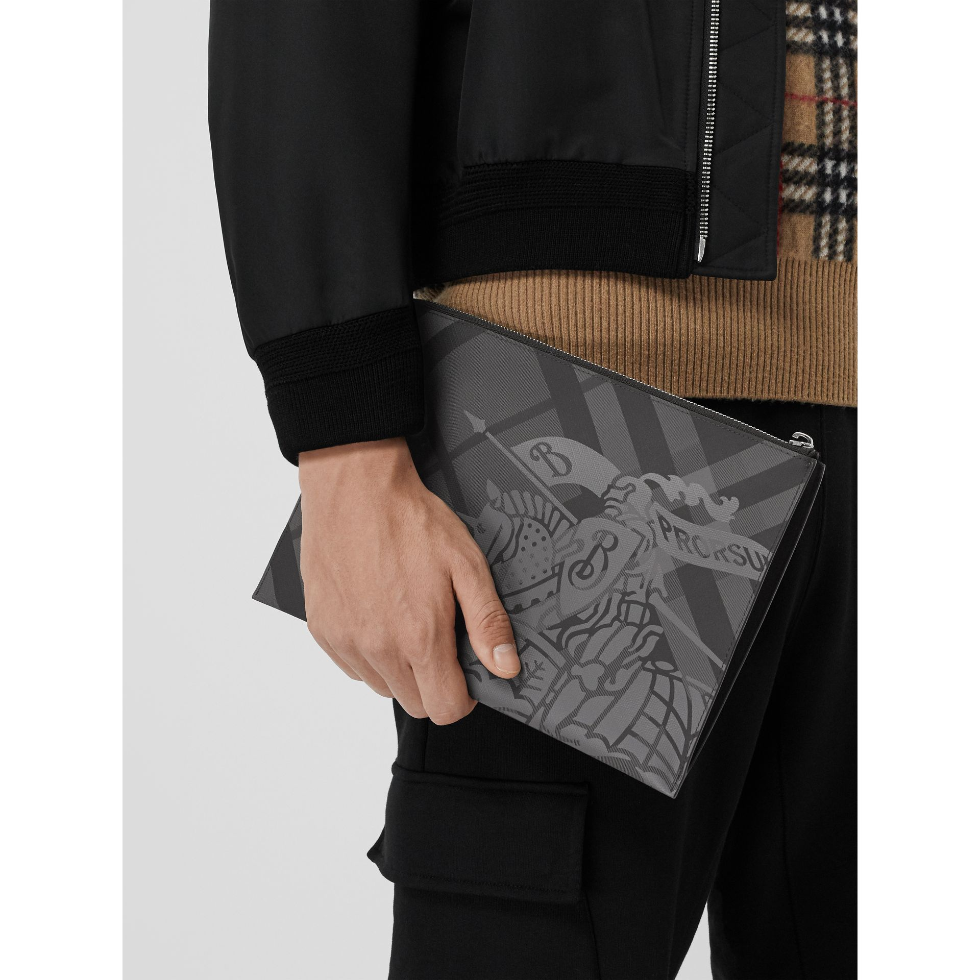 EKD London Check Zip Pouch in Charcoal/black - Men | Burberry - gallery image 4