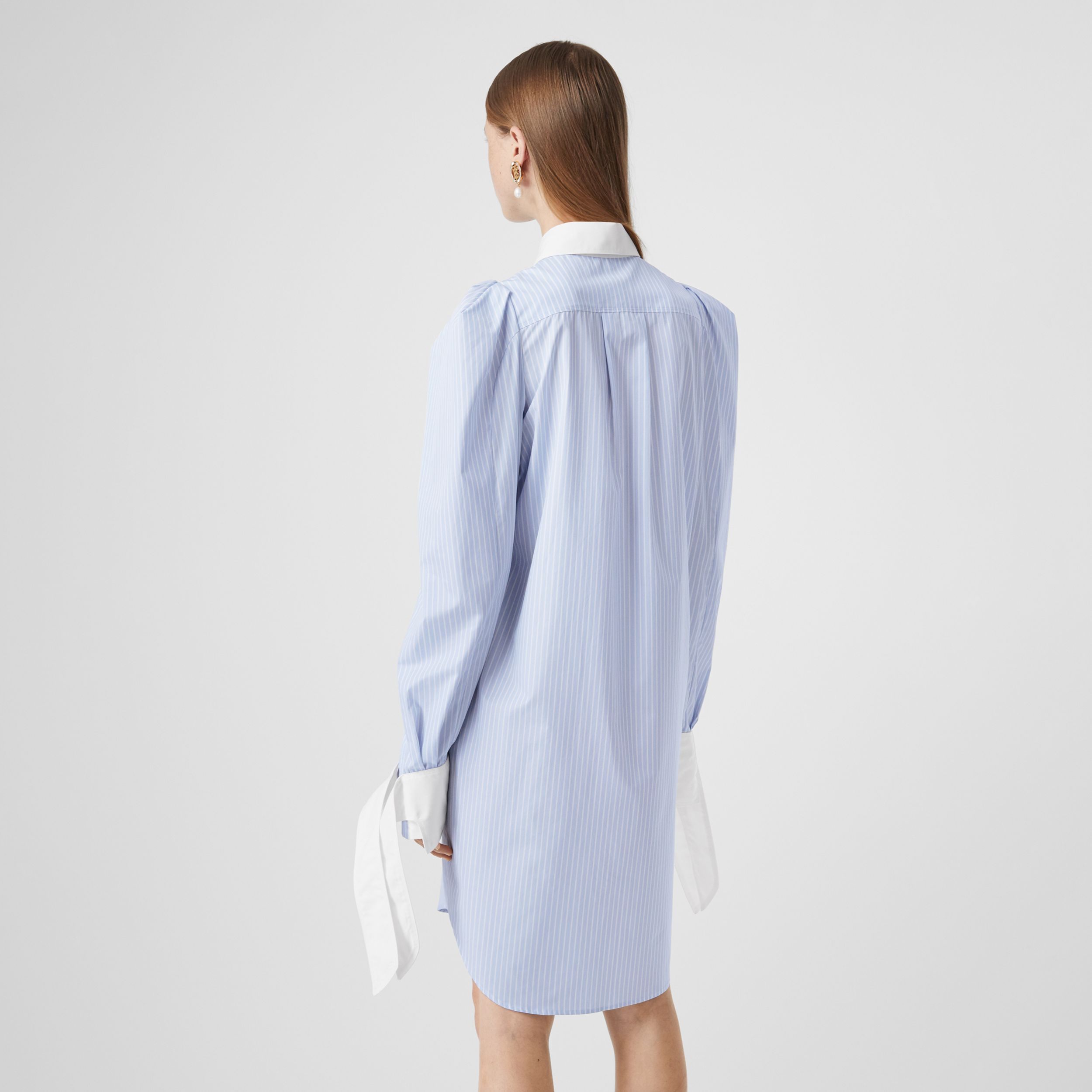 Striped Cotton Poplin Shirt Dress in Pale Blue - Women | Burberry United Kingdom - 3