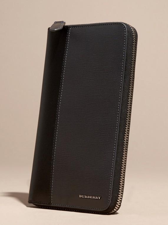 Anthracite/noir Portefeuille color-block à contour zippé en cuir London Anthracite/noir - cell image 2