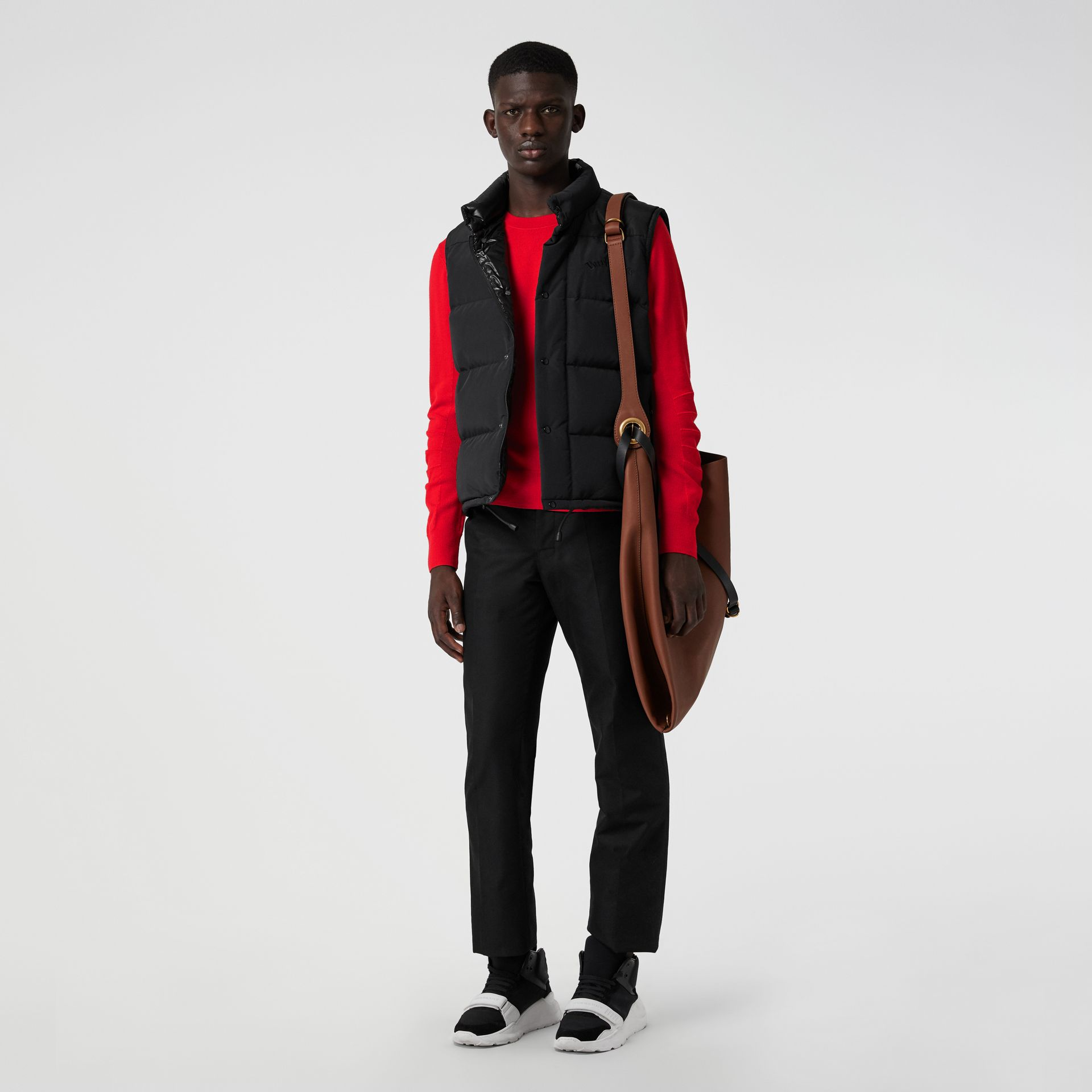 Check Detail Merino Wool Sweater in Bright Red - Men | Burberry - gallery image 4