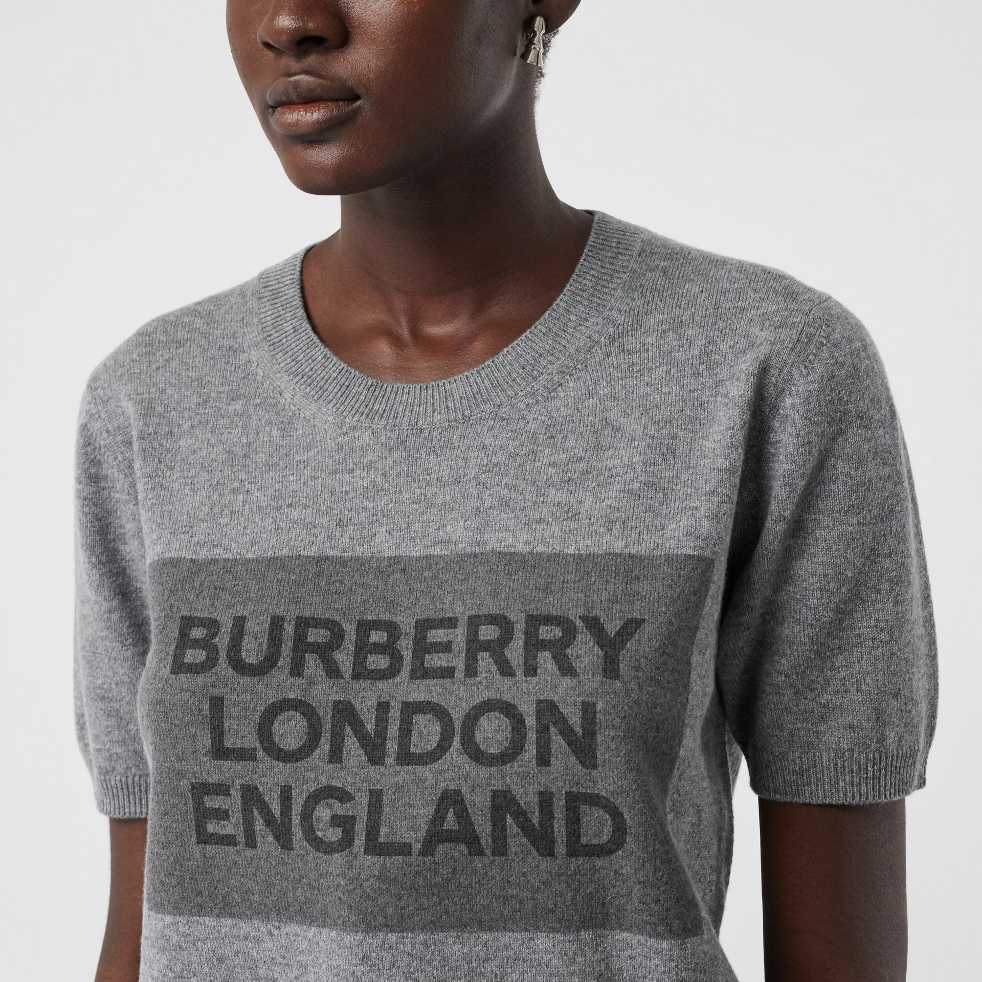 Short-sleeve Logo Detail Cashmere Top in Grey - Women | Burberry - gallery image 1