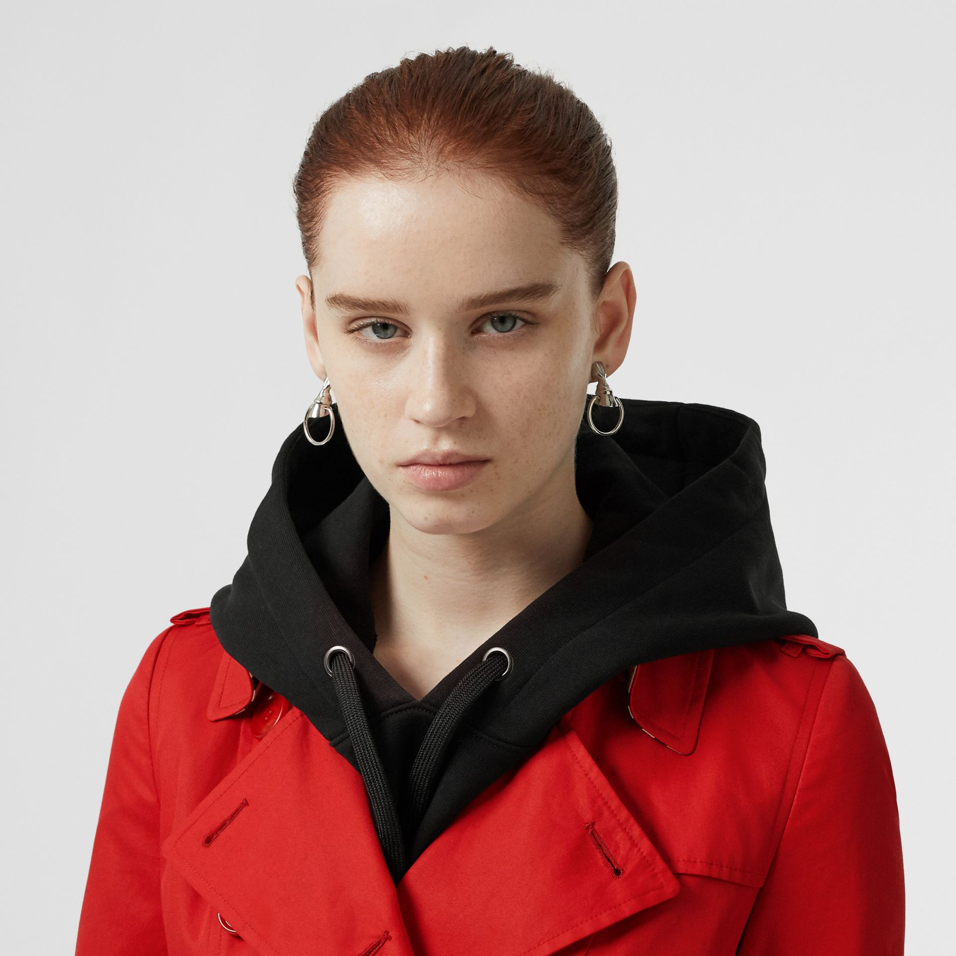 Cotton Gabardine Trench Coat in Bright Red - Women | Burberry United Kingdom - gallery image 1