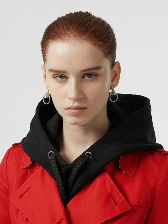 Cotton Gabardine Trench Coat in Bright Red - Women | Burberry United Kingdom - cell image 1