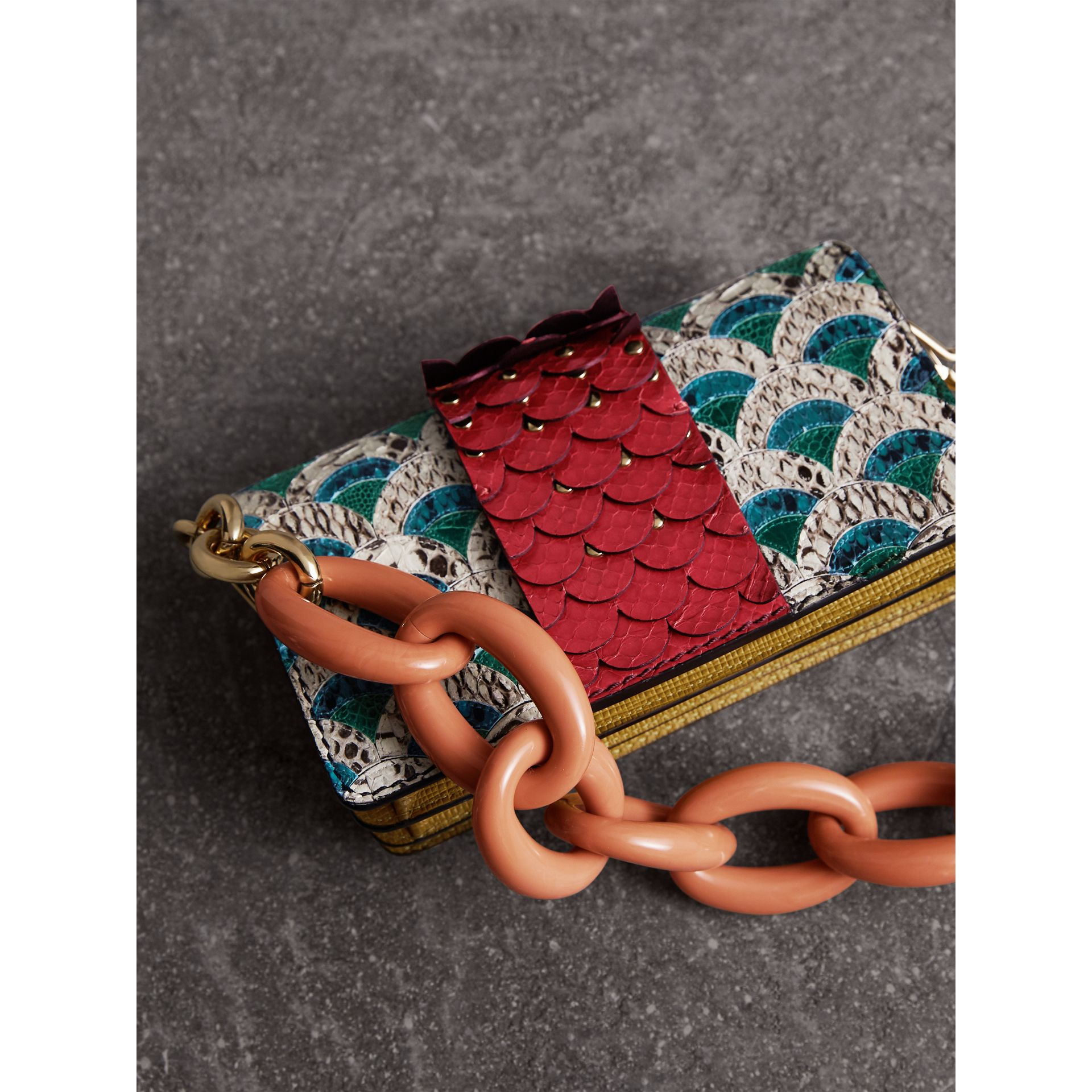 The Small Buckle Bag in Scallop Trim Snakeskin and Ostrich - Women | Burberry - gallery image 5
