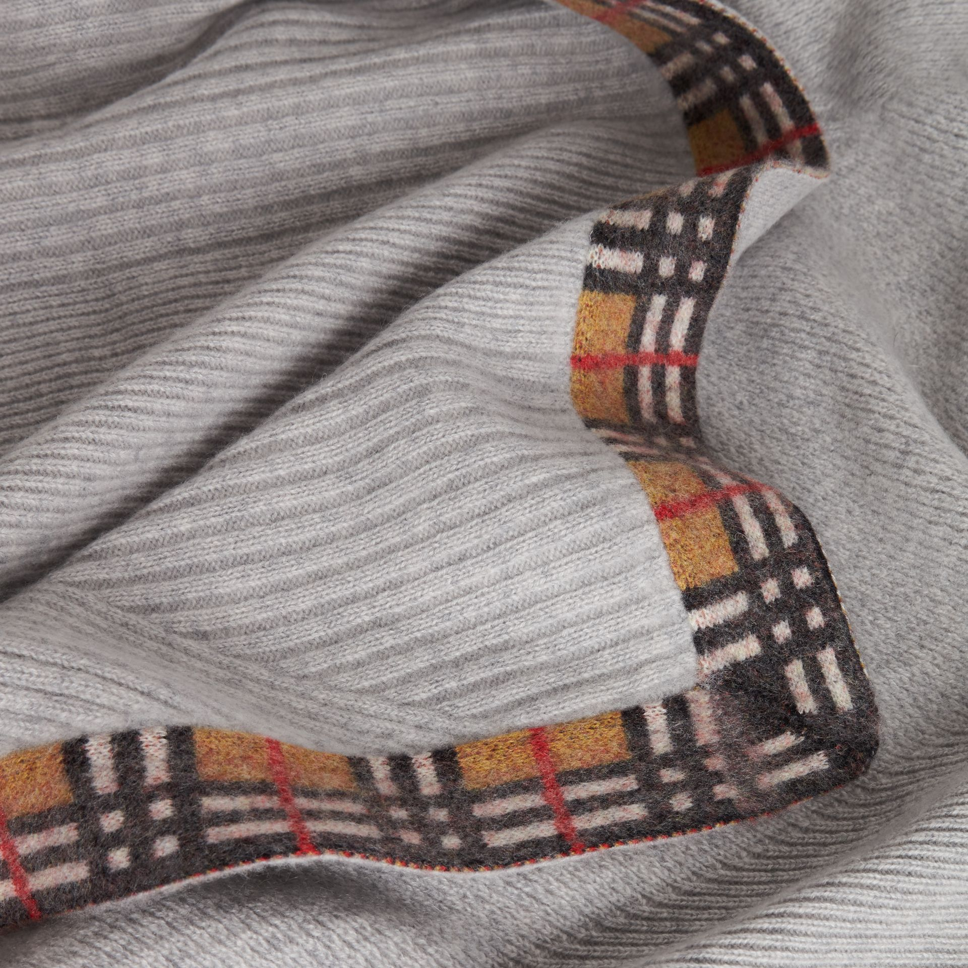 Vintage Check Detail Cashmere Baby Blanket in Light Grey Melange - Children | Burberry Australia - gallery image 1