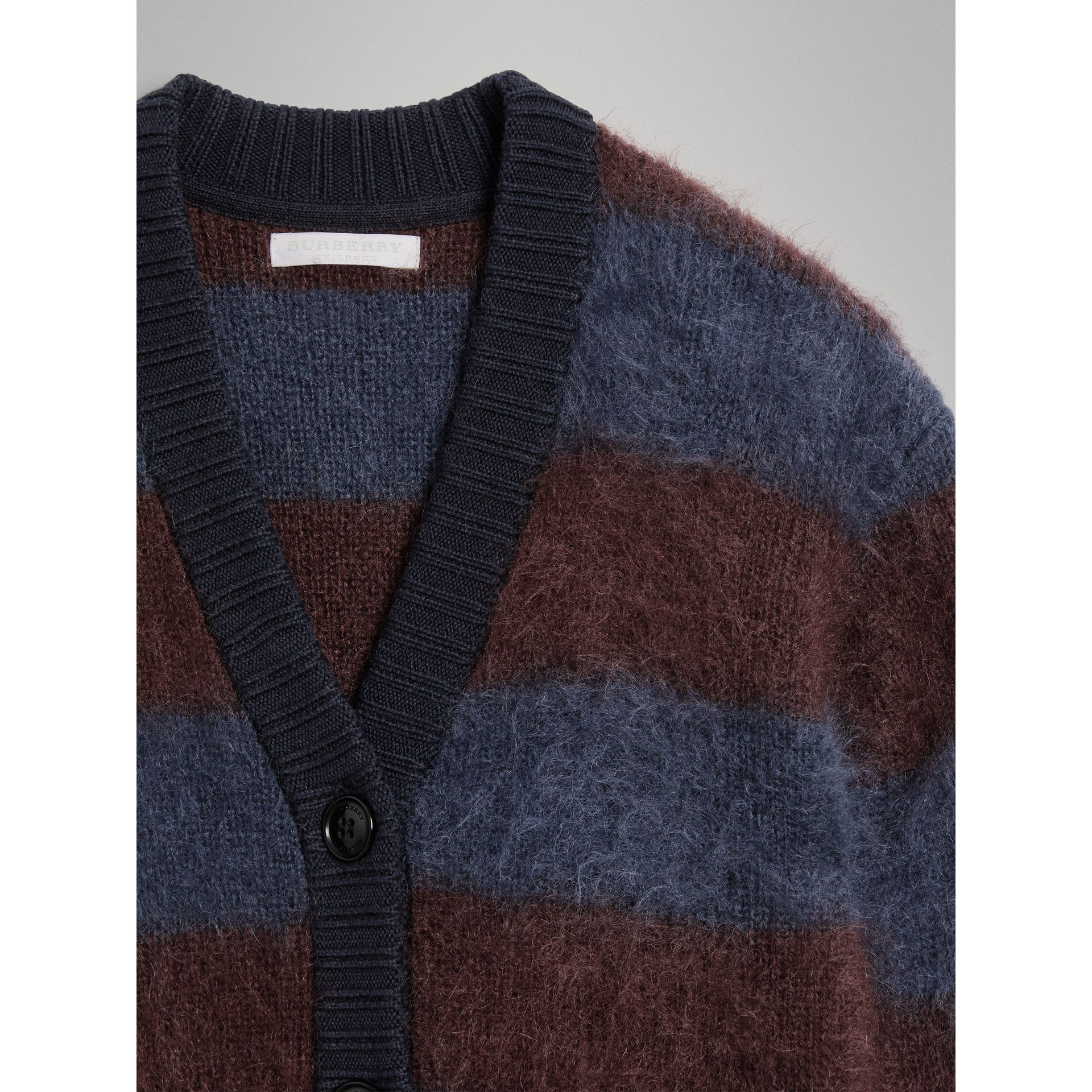 Tri-tone Striped Mohair Blend Cardigan in Burgundy - Girl | Burberry - gallery image 1