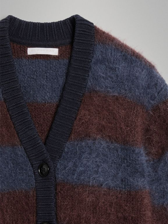 Tri-tone Striped Mohair Blend Cardigan in Burgundy - Girl | Burberry United Kingdom - cell image 1