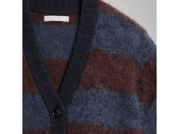 Tri-tone Striped Mohair Blend Cardigan in Burgundy - Girl | Burberry - cell image 1