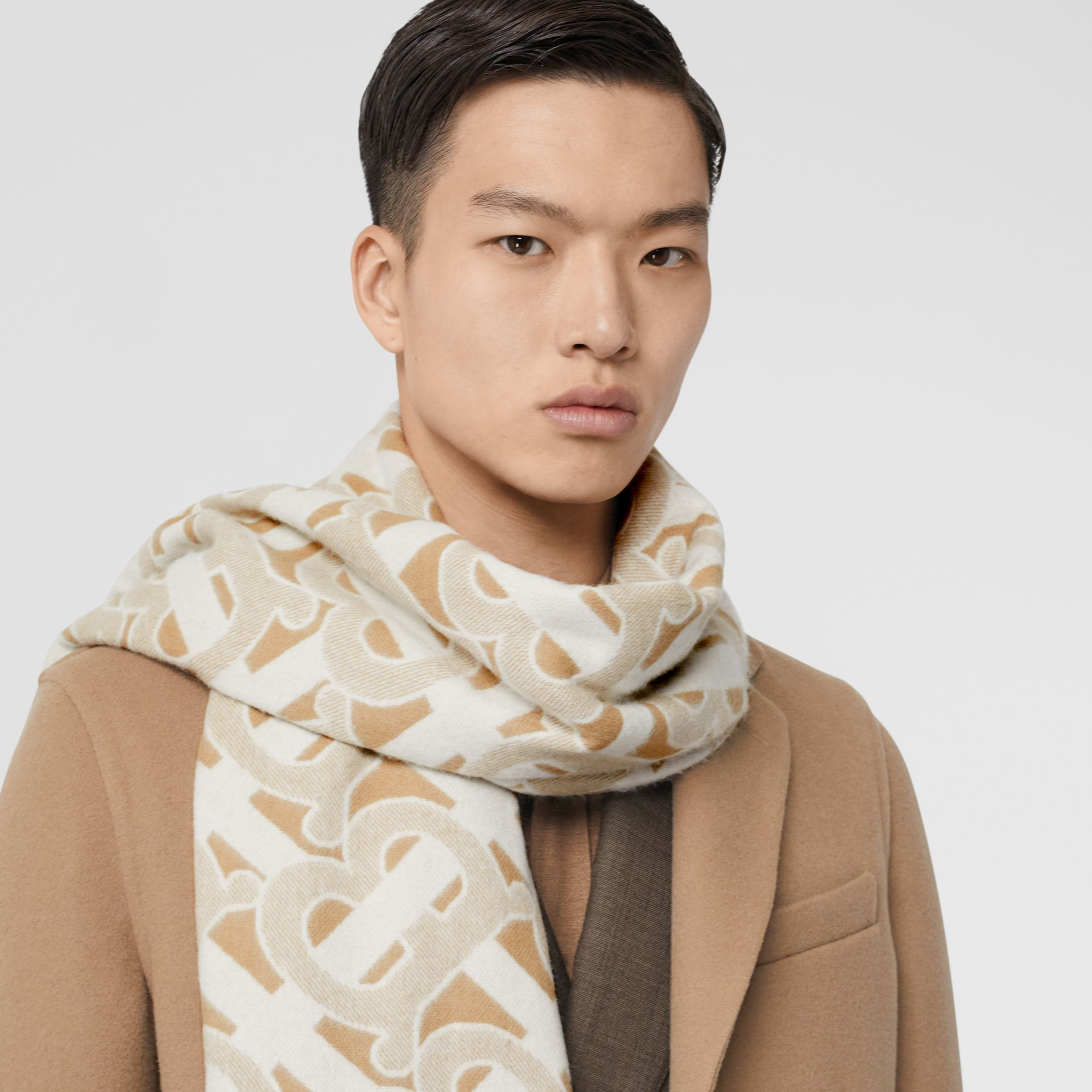 Monogram Cashmere Jacquard Scarf in Light Sand | Burberry Australia - 3