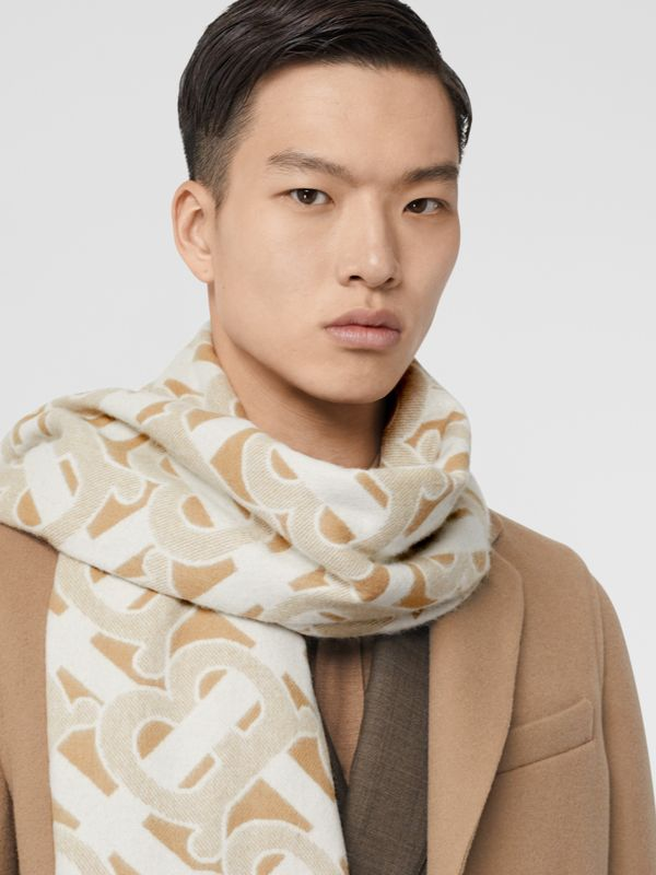 Monogram Cashmere Jacquard Scarf in Light Sand | Burberry - cell image 3