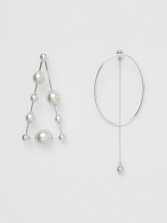 Faux Pearl Triangle Palladium-plated Drop Earrings in Palladio