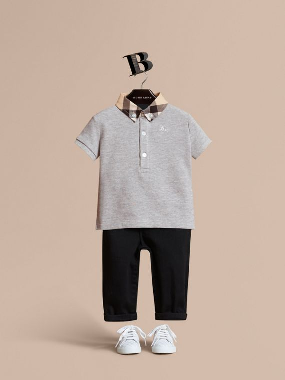 Check Collar Cotton Polo Shirt in Pale Grey Melange | Burberry