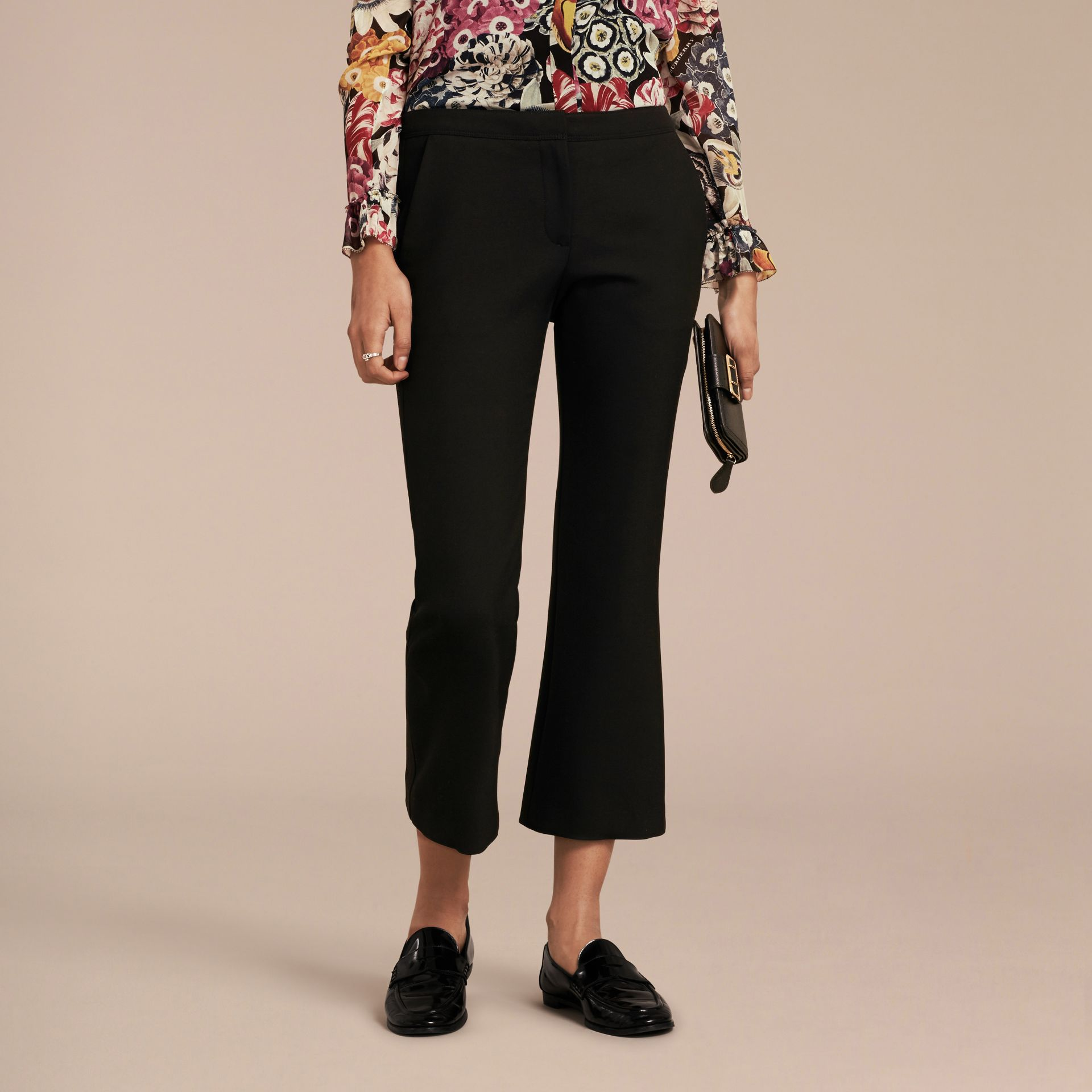 Black Cropped Tailored Trousers - gallery image 6