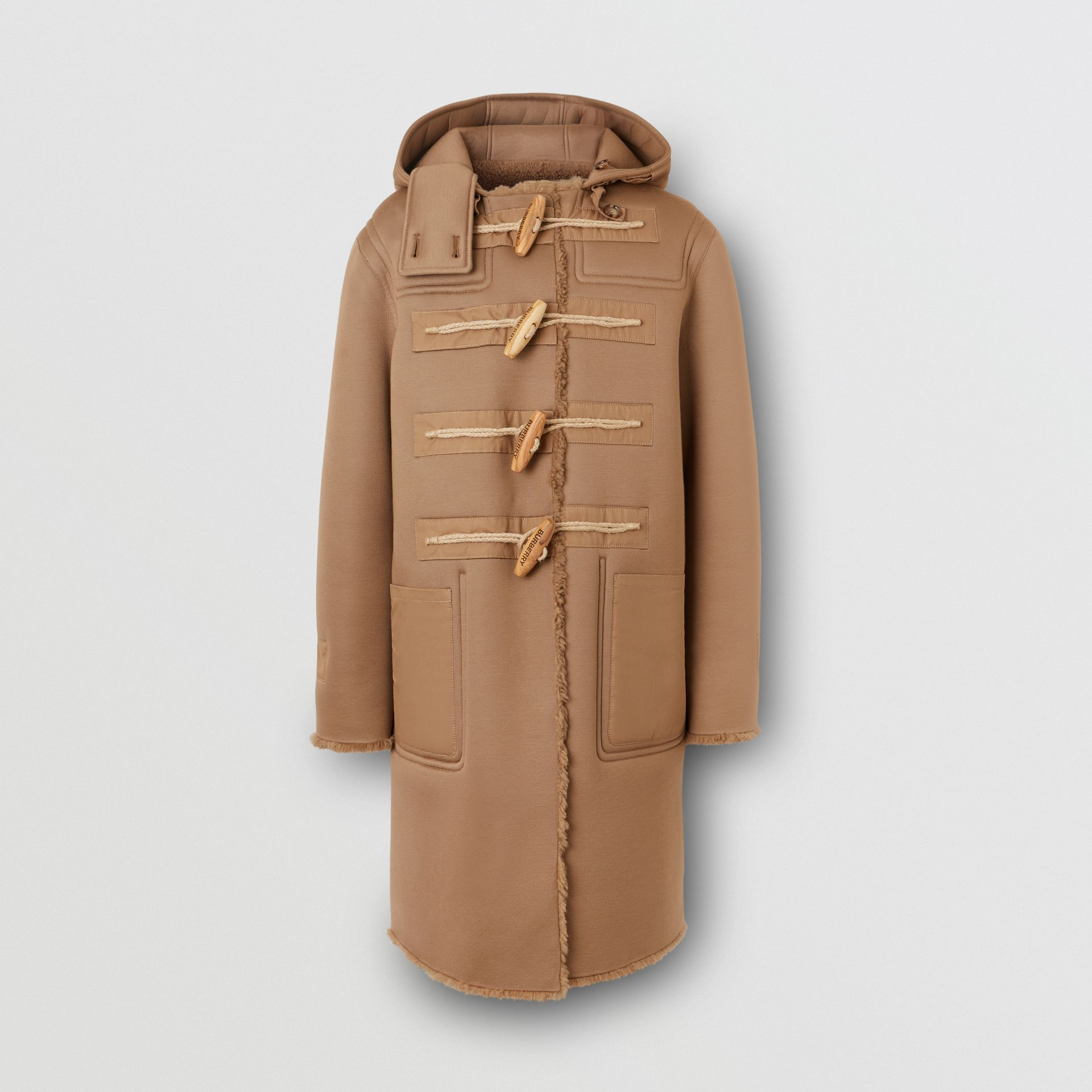 Reversible Neoprene and Shearling Hooded Duffle Coat in Warm Walnut - Men | Burberry - gallery image 2