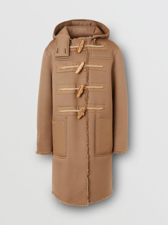 Reversible Neoprene and Shearling Hooded Duffle Coat in Warm Walnut