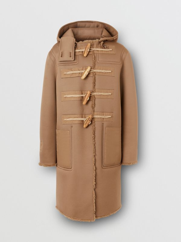 Reversible Neoprene and Shearling Hooded Duffle Coat in Warm Walnut - Men | Burberry - cell image 3