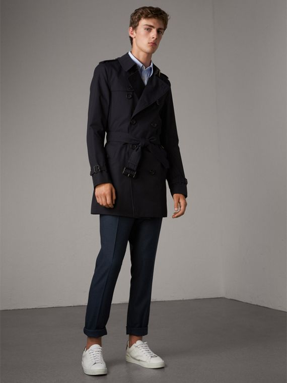The Sandringham – Mid-length Heritage Trench Coat in Navy