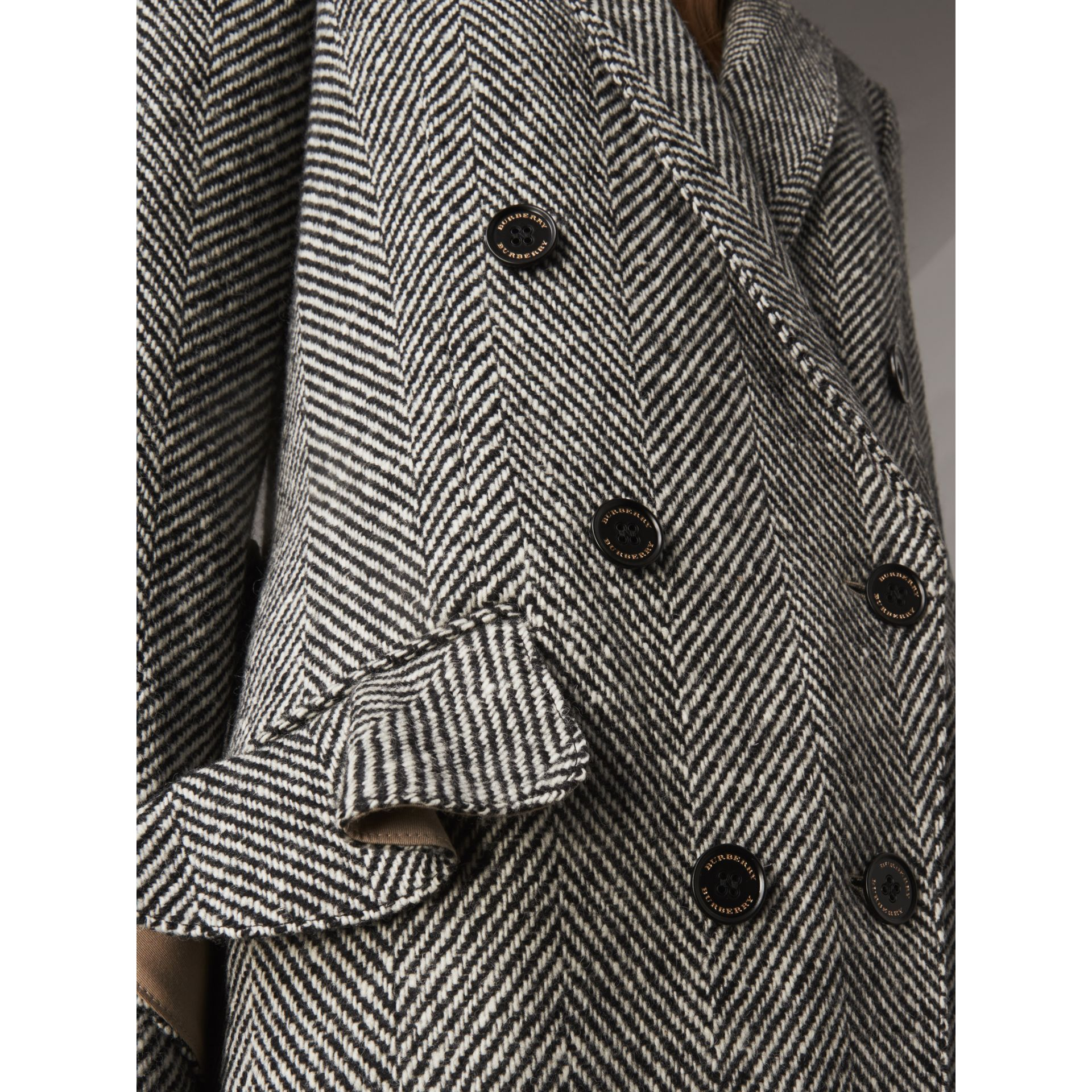 Donegal Herringbone Wool Tweed Tailored Coat in Black - Women | Burberry - gallery image 5