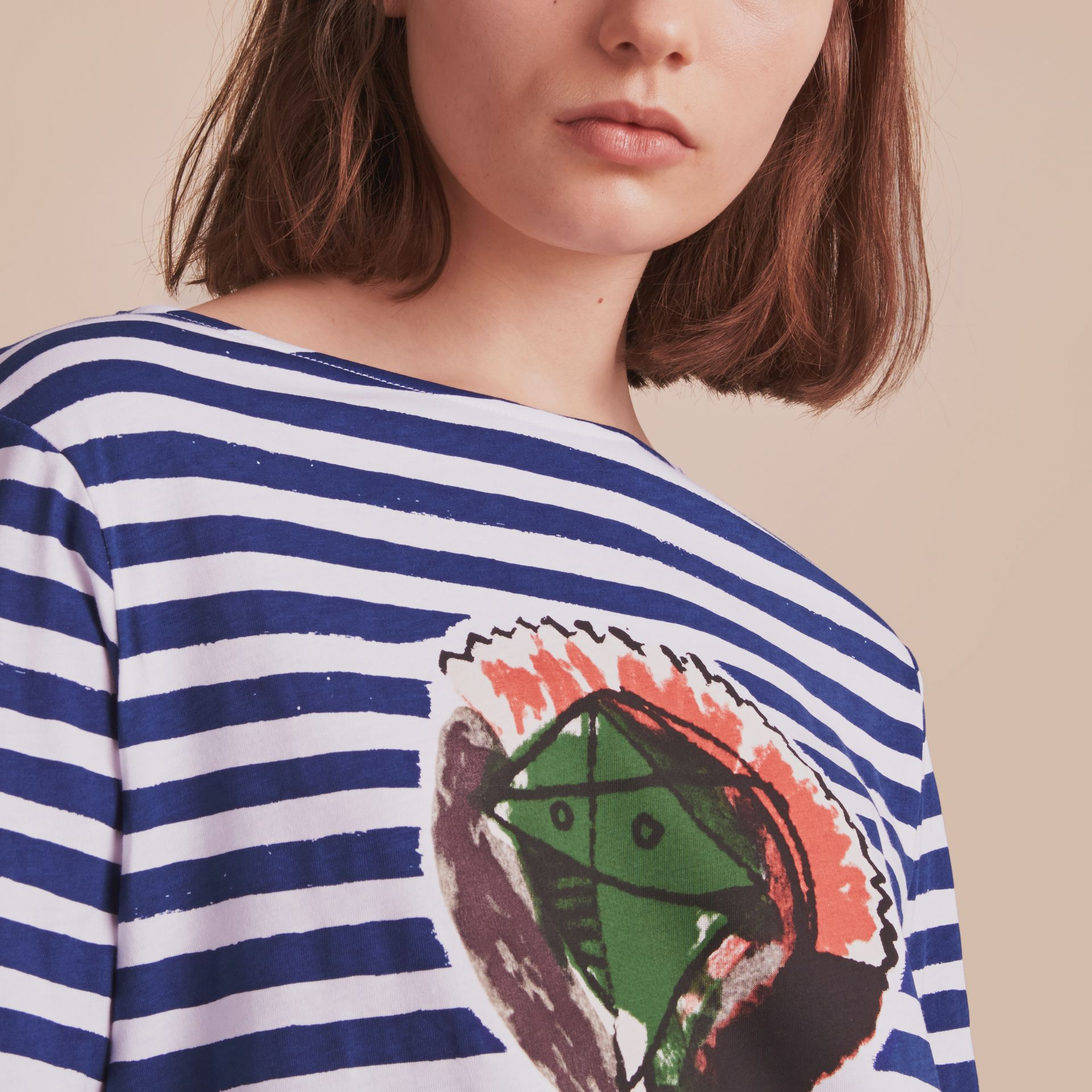 Pallas Heads Print Breton Stripe Jersey Top in Ink Blue/white - Women | Burberry United Kingdom - gallery image 4
