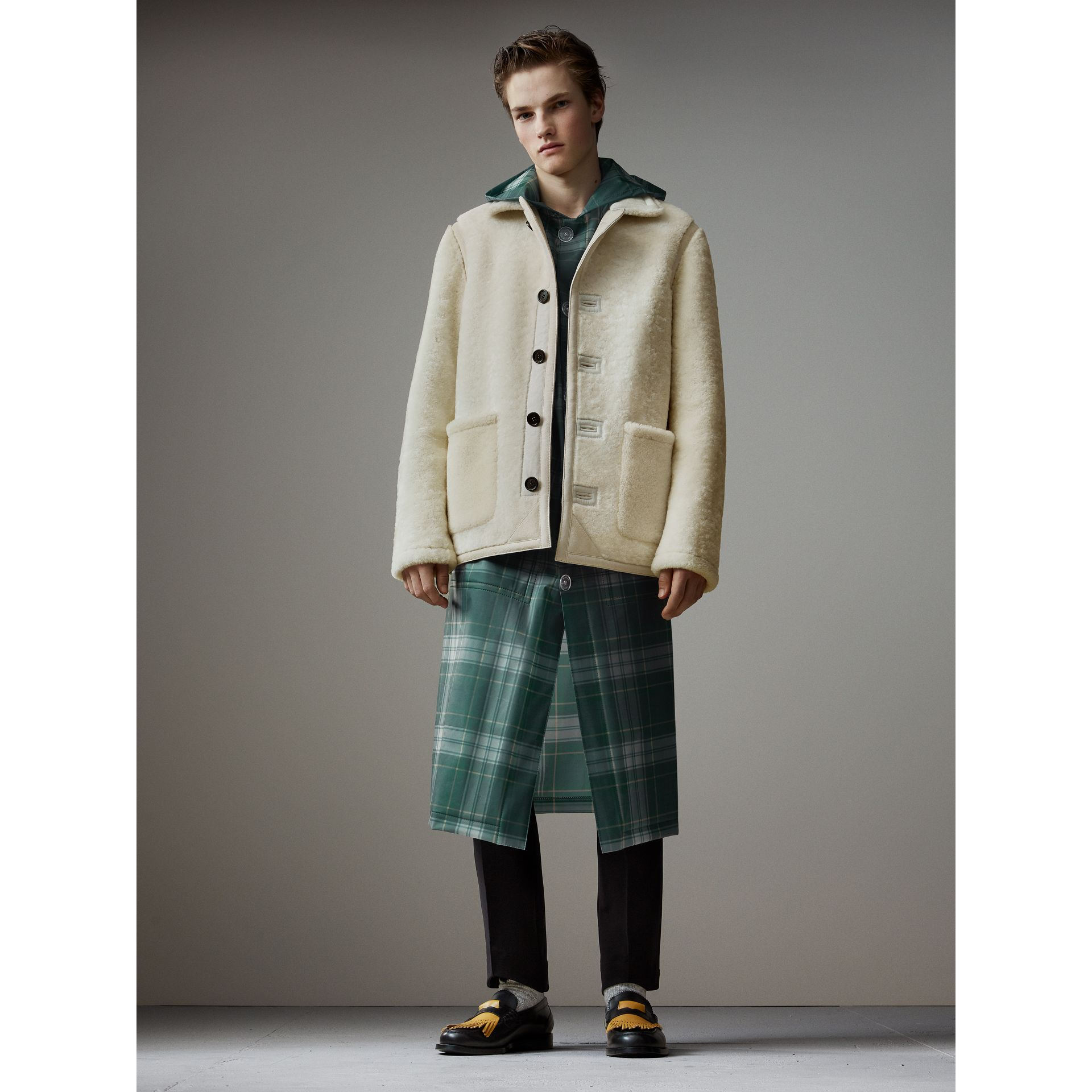 Tartan Soft-touch Plastic Hooded Car Coat in Navy - Men | Burberry - gallery image 7