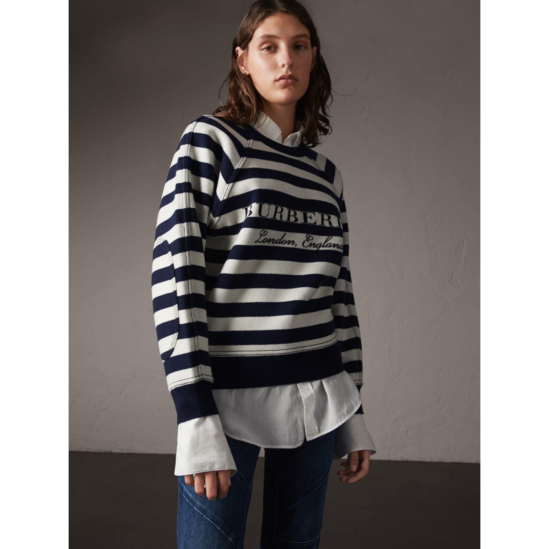 Breton Stripe Wool Cashmere Blend Sweater - Women | Burberry - gallery image 1