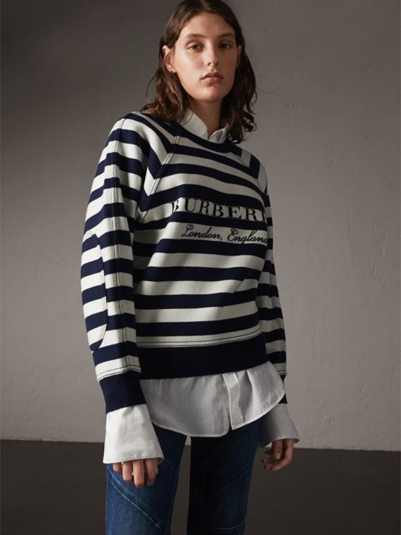 Breton Stripe Wool Cashmere Blend Sweater - Women | Burberry