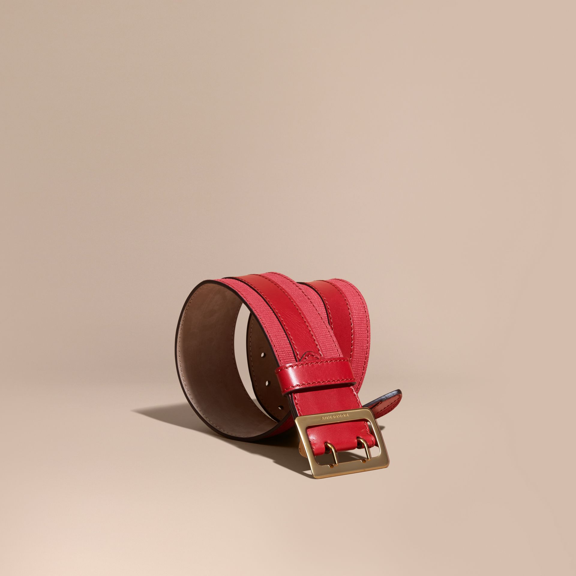 Appliquéd Textured Suede and Leather Belt in Plum Pink - gallery image 1