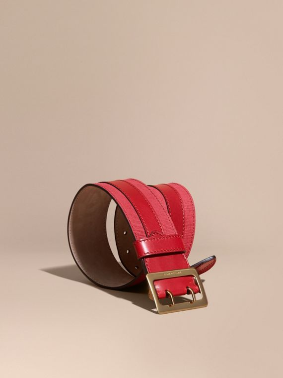 Appliquéd Textured Suede and Leather Belt Plum Pink