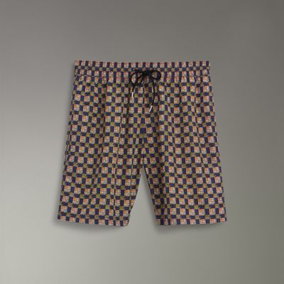 Archive Logo And Vintage Check Drawcord Swim Shorts in Blue