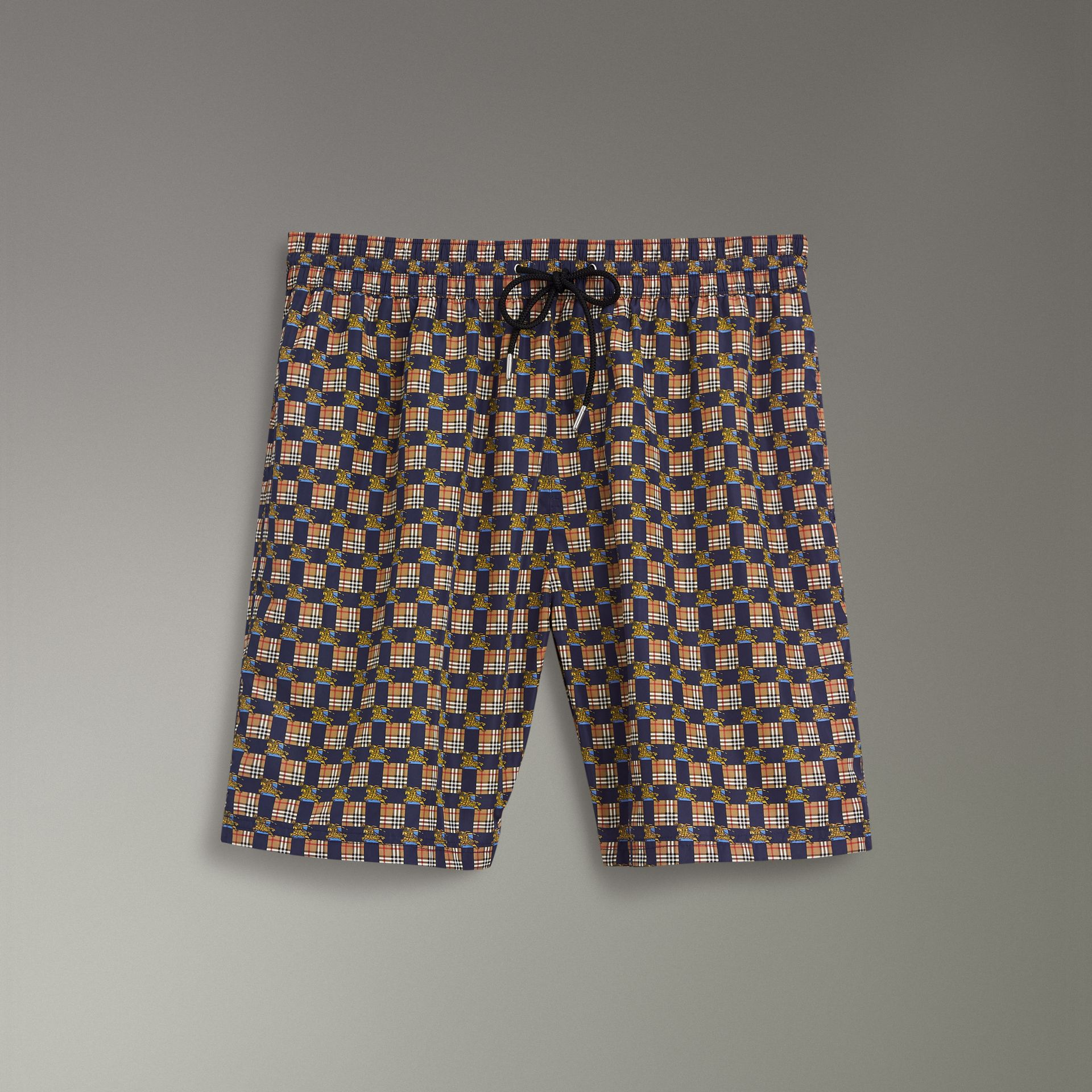 Archive Logo and Vintage Check Drawcord Swim Shorts in Navy - Men | Burberry Australia - gallery image 0