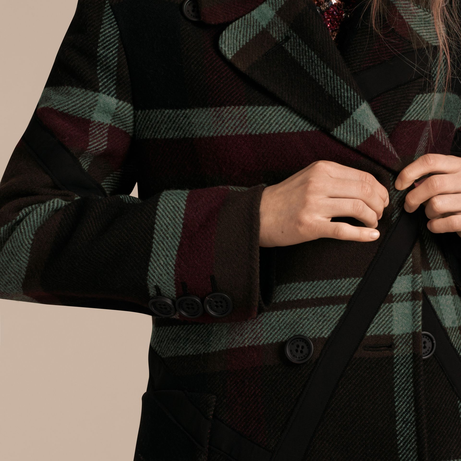 Military green Unlined Tartan Wool Double-breasted Coat - gallery image 5