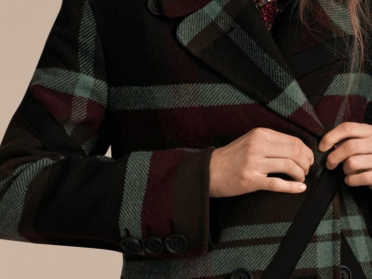 Vert militaire Manteau non doublé à double boutonnage en laine tartan - cell image 4
