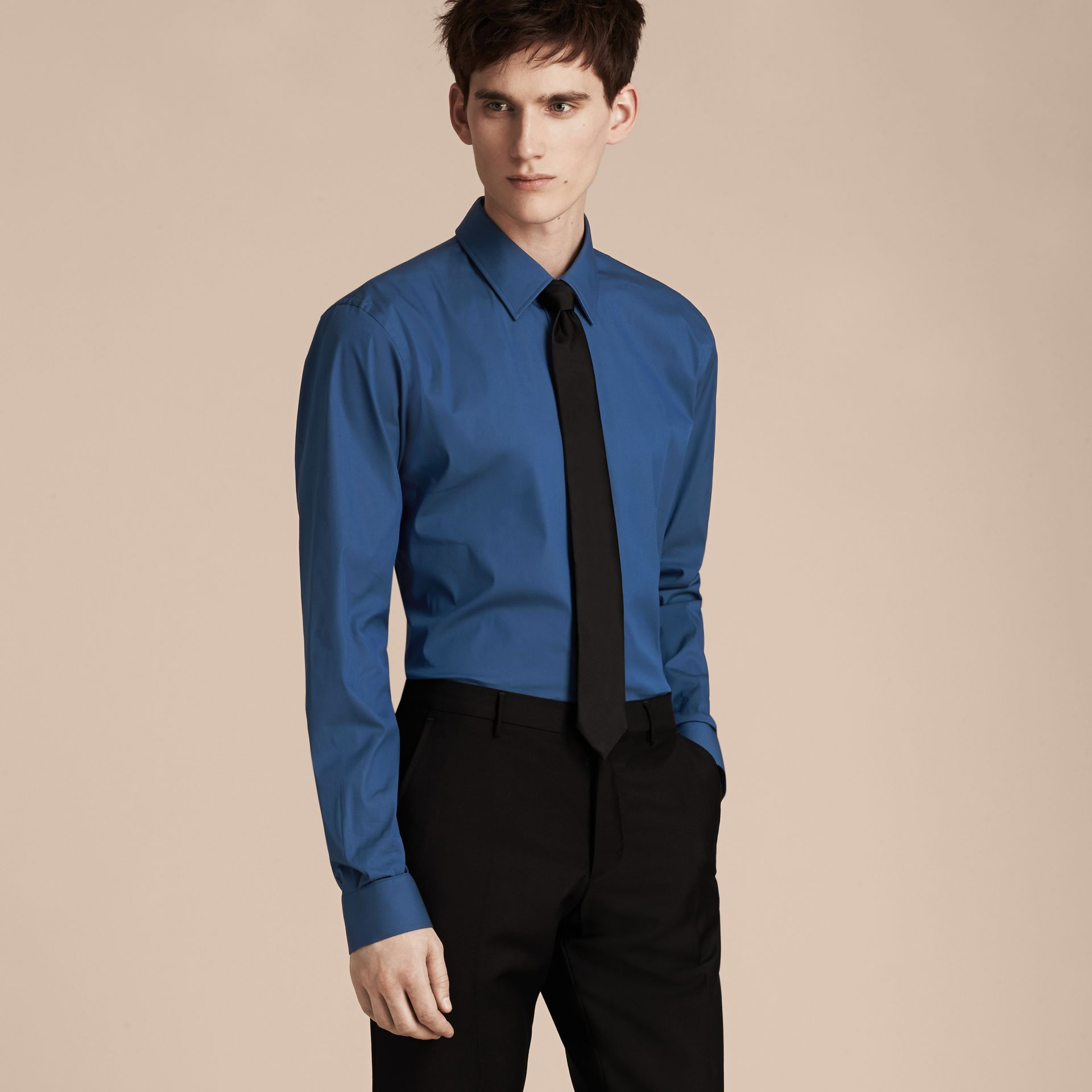 Indigo Slim Fit Stretch Cotton Blend Shirt Indigo - gallery image 6