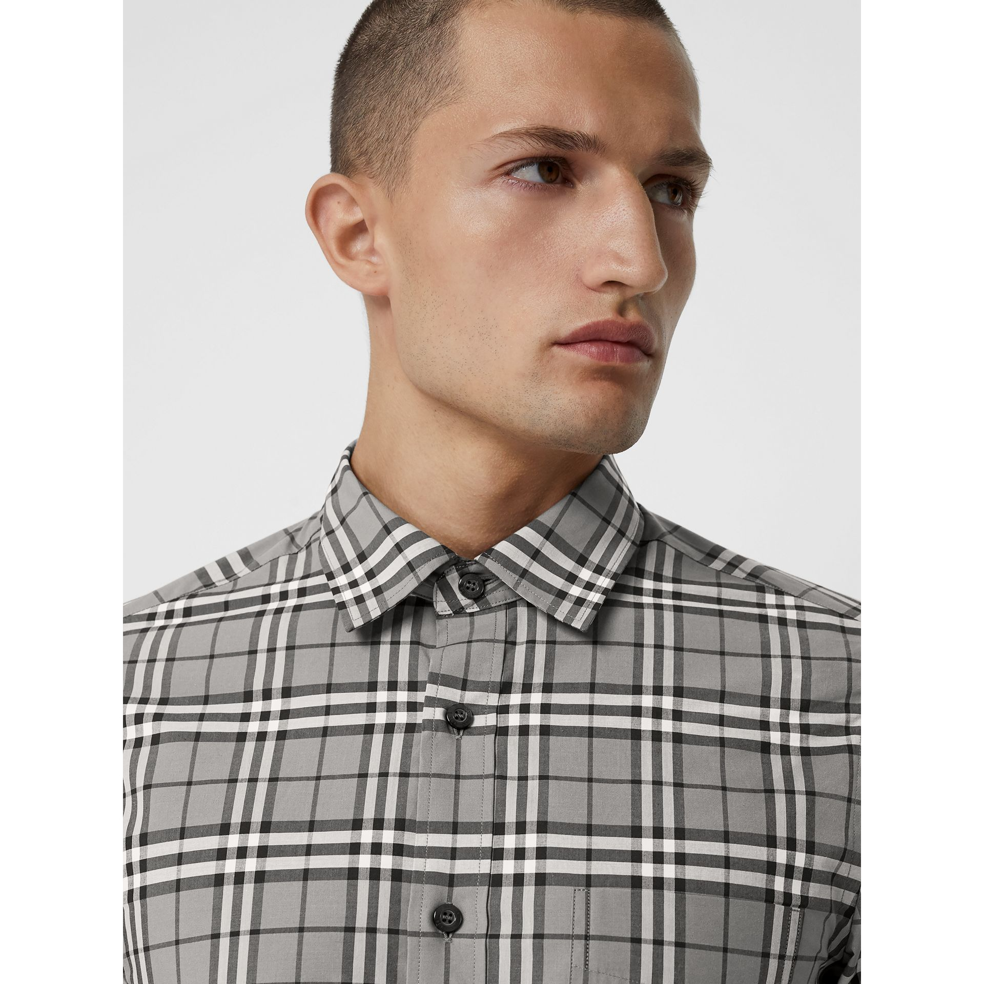 Check Cotton Shirt in Charcoal - Men | Burberry - gallery image 1