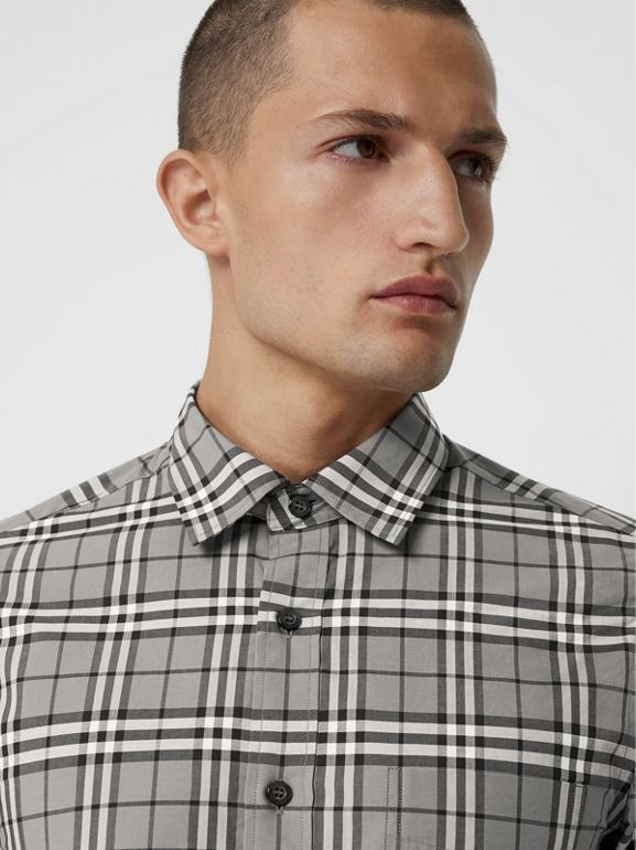 Check Cotton Shirt in Charcoal - Men | Burberry - cell image 1