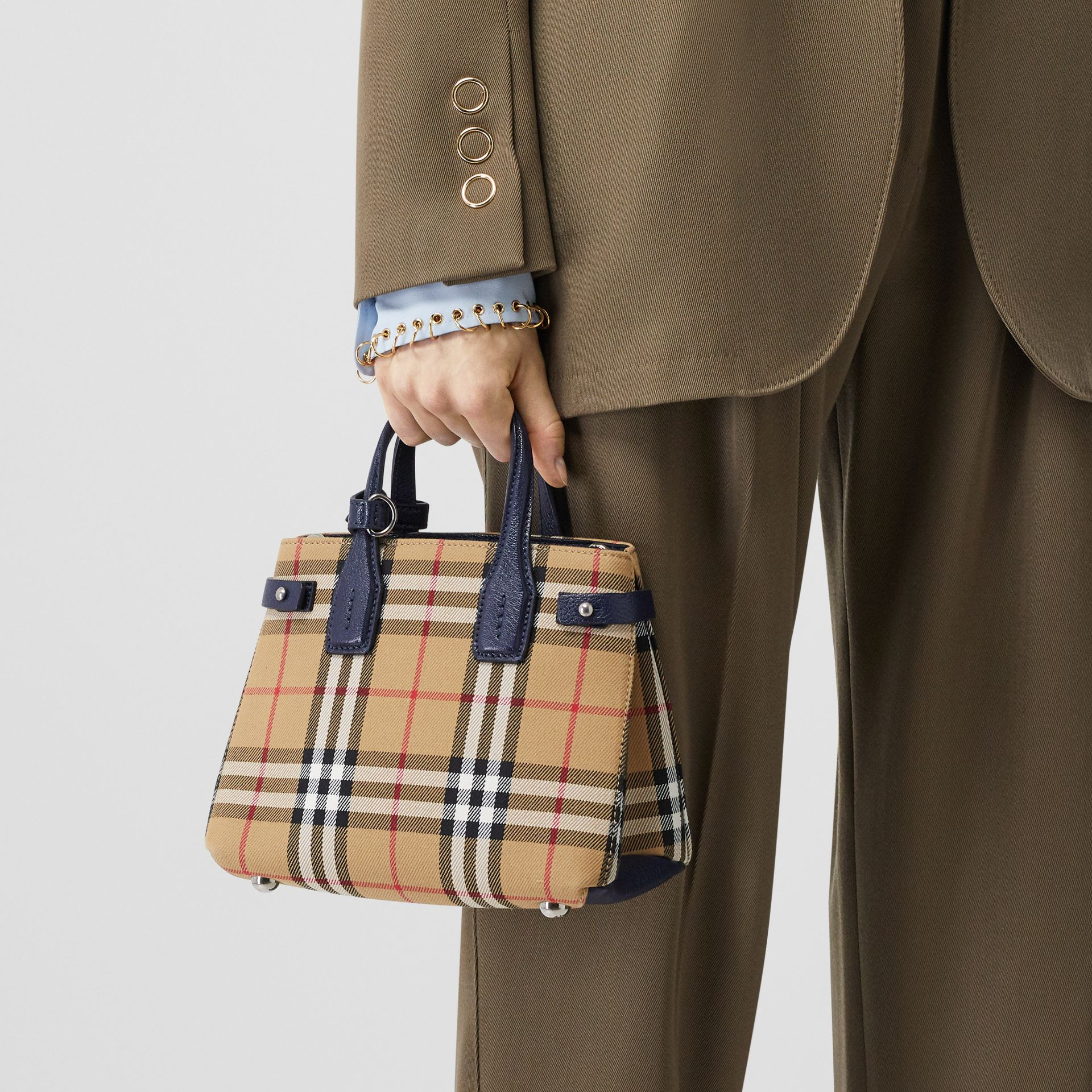 The Baby Banner in Vintage Check and Leather in Regency Blue - Women | Burberry Canada - gallery image 2