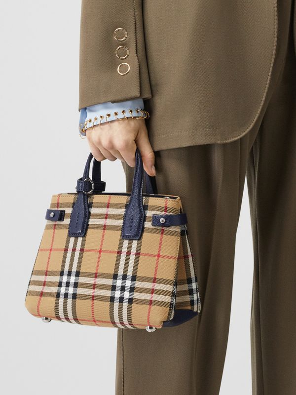 The Baby Banner in Vintage Check and Leather in Regency Blue - Women | Burberry - cell image 2