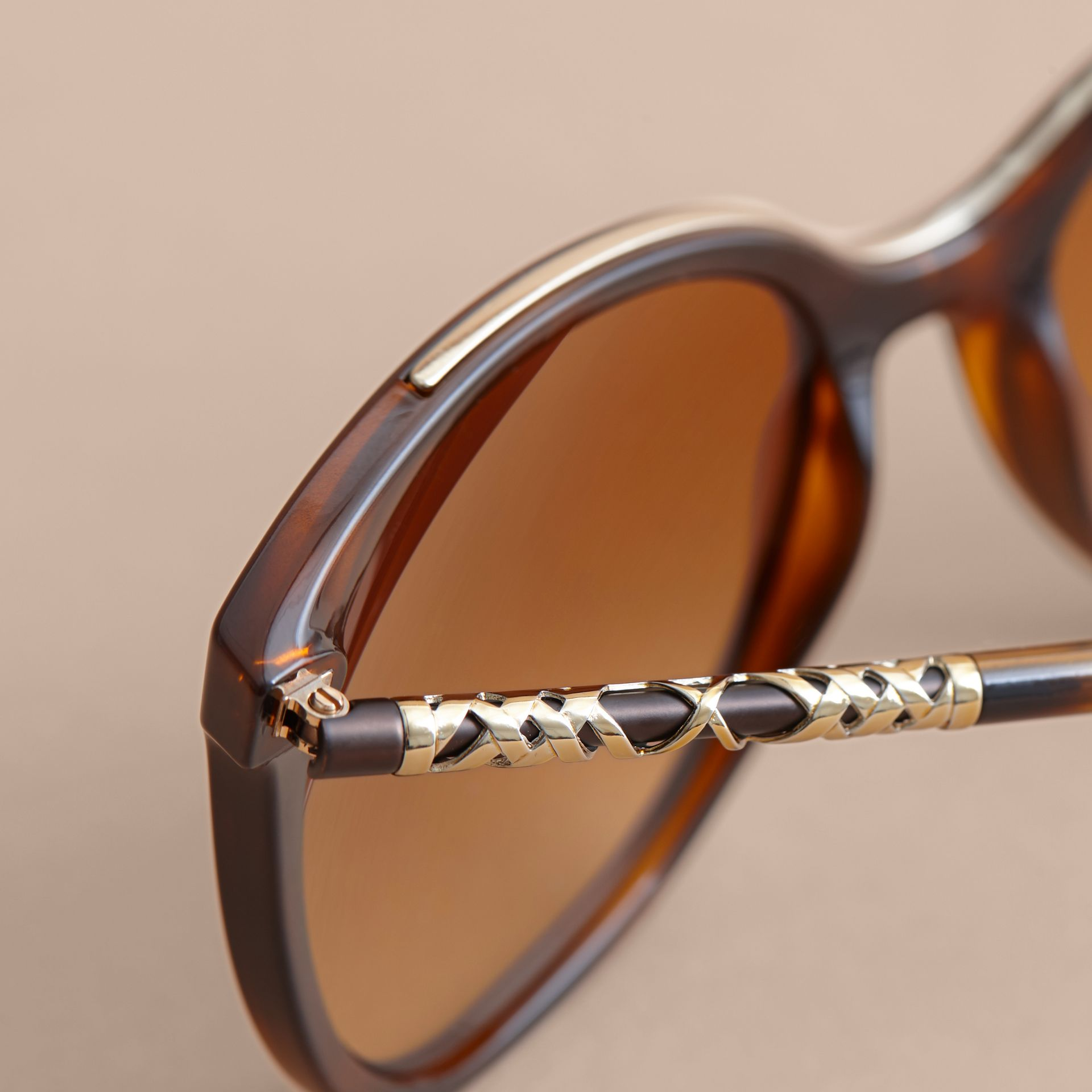 Check Detail Square Frame Sunglasses in Tortoiseshell - Women | Burberry - gallery image 2