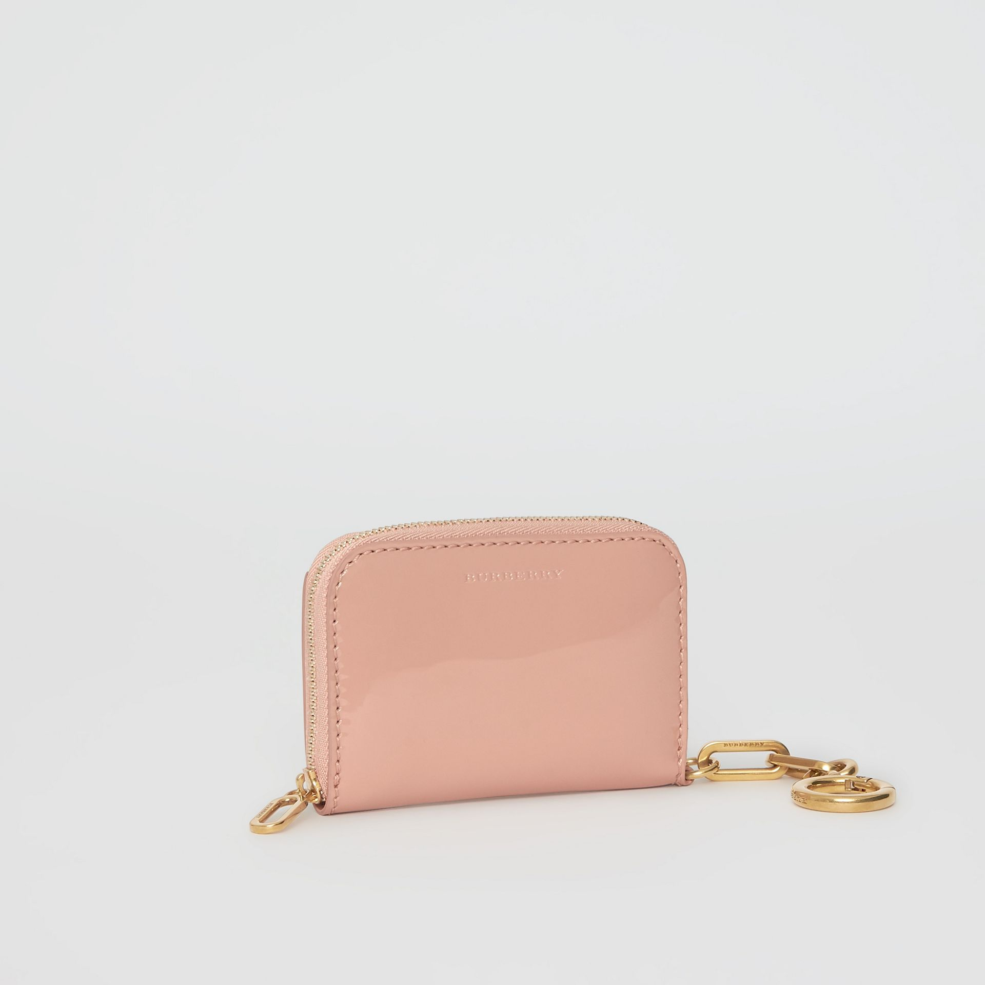Link Detail Patent Leather Ziparound Wallet in Pale Fawn Pink - Women | Burberry Singapore - gallery image 4