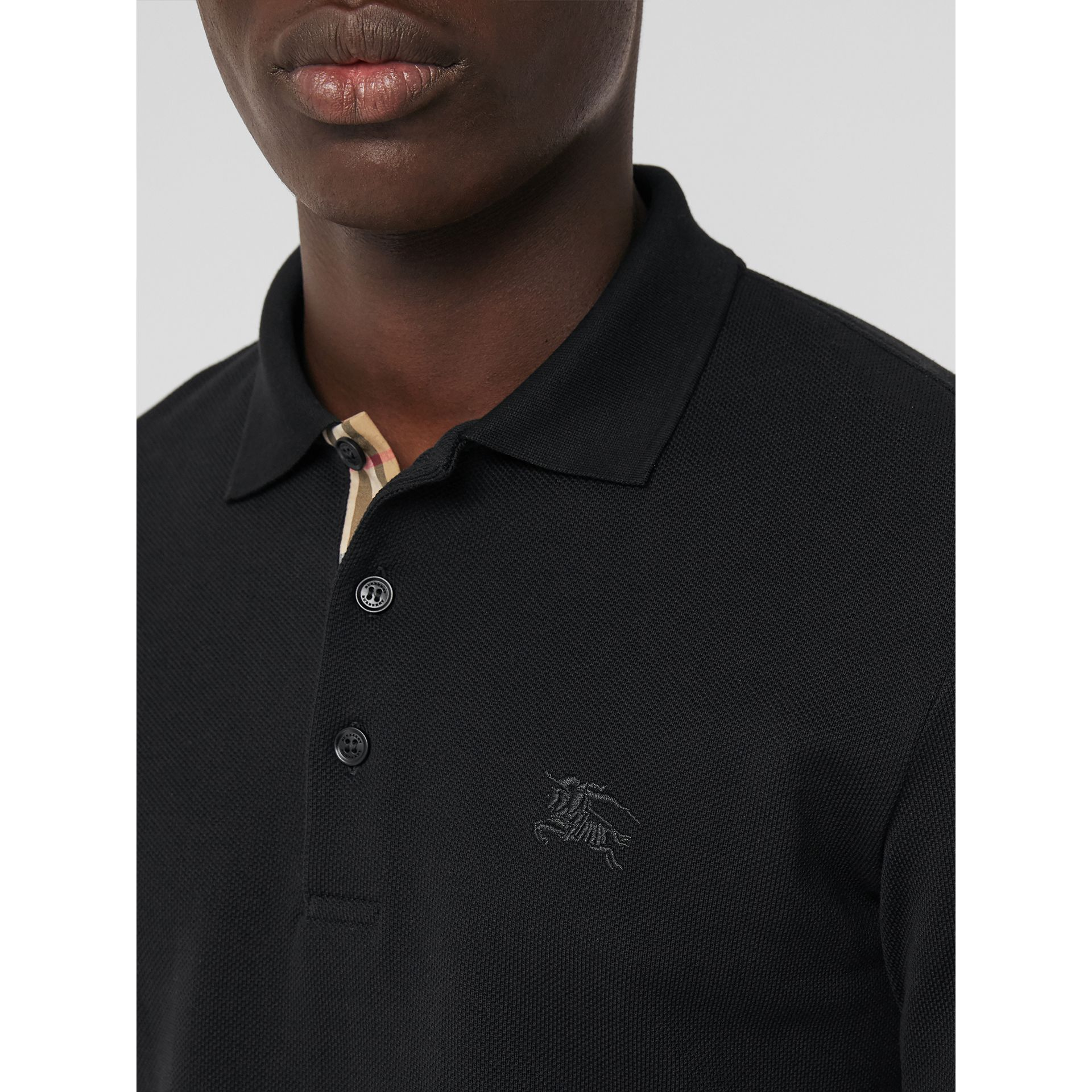 Long-sleeve Cotton Piqué Polo Shirt in Black - Men | Burberry Australia - gallery image 1