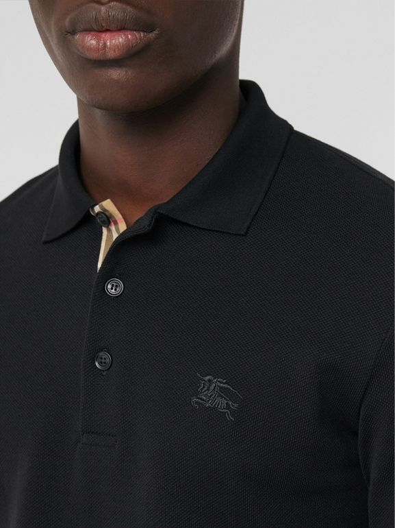 Long-sleeve Cotton Piqué Polo Shirt in Black - Men | Burberry Australia - cell image 1