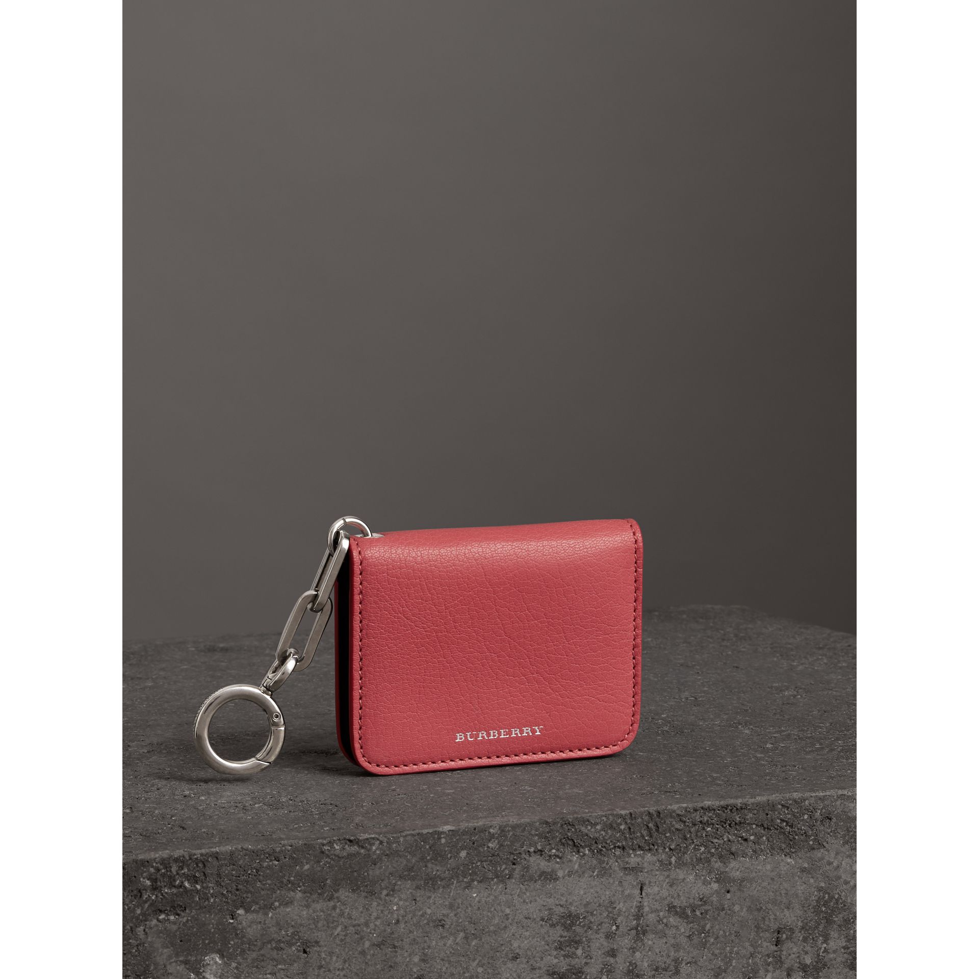 Link Detail Leather ID Card Case Charm in Bright Coral Pink - Women | Burberry - gallery image 5
