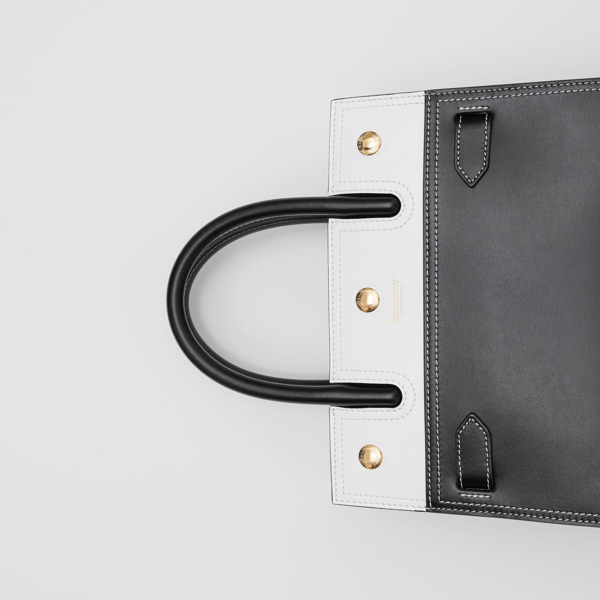 Mini Leather Two-handle Title Bag in Black/white - Women | Burberry - gallery image 1