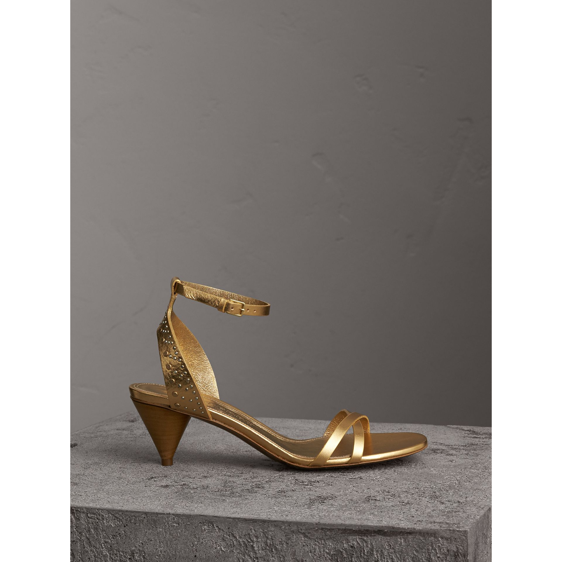 Riveted Metallic Leather Cone-heel Sandals in Gold - Women | Burberry Australia - gallery image 0