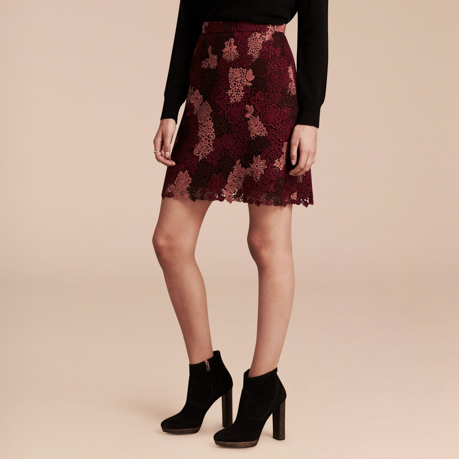Deep claret Floral Italian Macramé Lace Skirt - gallery image 6