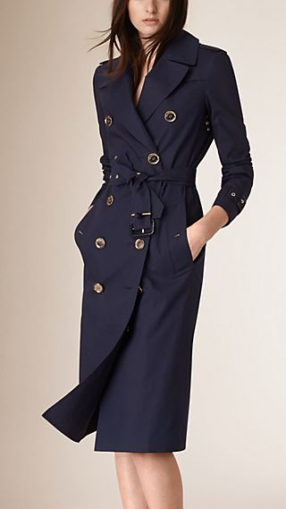 Cotton Trench Coat with Gold-tone Button Detail