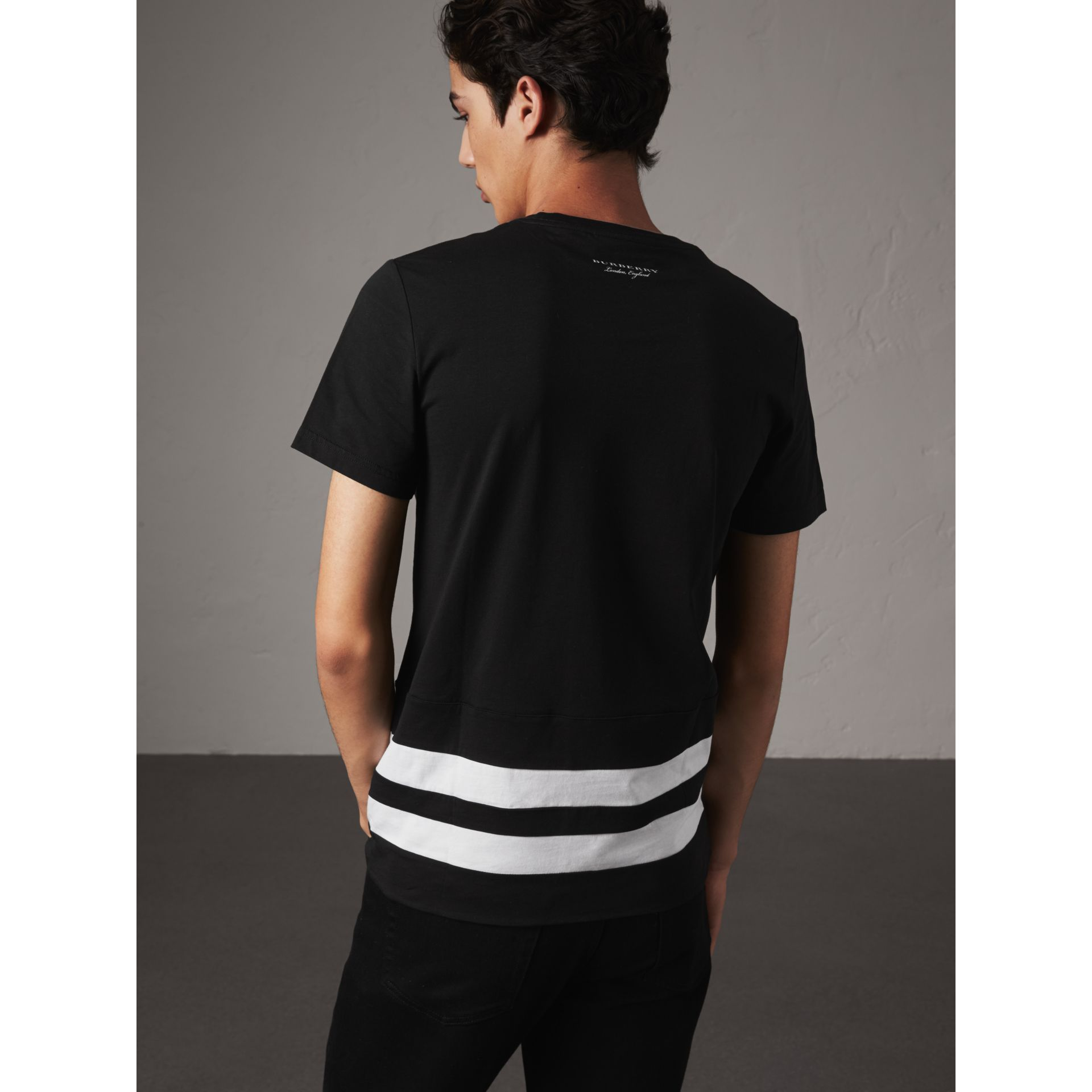 Striped Hem Cotton T-shirt in Black - Men | Burberry - gallery image 3