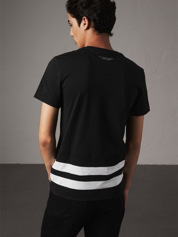 Striped Hem Cotton T-shirt in Black - Men | Burberry - cell image 2