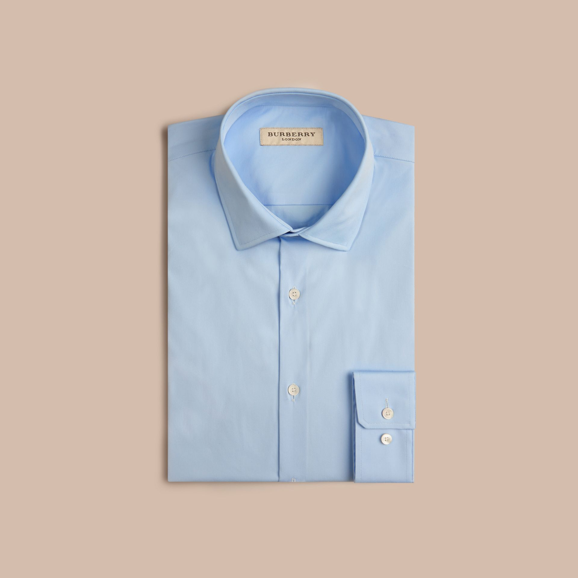 Slim Fit Stretch Cotton Poplin Shirt in City Blue - Men | Burberry - gallery image 4